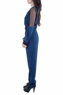 Jonathan Simkhai Navy Blue Silk Long Sleeve Mesh Panel Jumpsuit S 212632