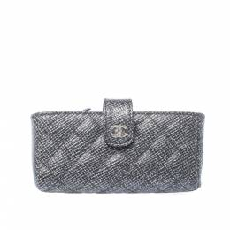 Chanel Black/Silver Quilted Leather CC Phone Holder Clutch 211756