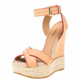 Dsquared2 Beige Leather Espadrille Ankle Strap Wedge Sandals Size 36 211988