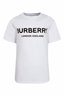 Белая футболка с надписью Burberry Kids 1253143709