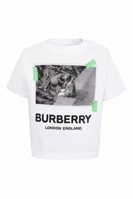 Белая футболка с застежкой сбоку Burberry Kids 1253143708