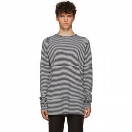Haider Ackermann Black and White Striped Fortuna Long Sleeve T-Shirt 192542M21300102GB