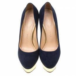 Charlotte Olympia Blue Suede Dolly Platform Pumps Size 38 182296
