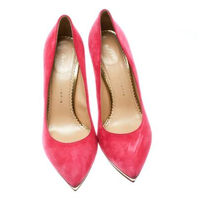 Charlotte Olympia Pink Suede Dotty Platform Pumps Size 39.5 176123 - 2