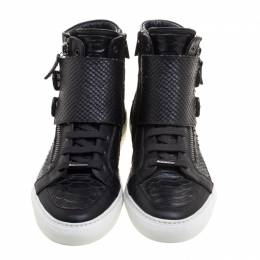 Le Silla Black Faux Python Leather High Top Sneakers Size 39 113452