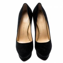 Charlotte Olympia Black Suede Dolly Platform Pumps Size 38.5 187155