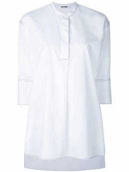 Jil Sander - topstitch cropped sleeve collarless shirt M663966WM05566690850