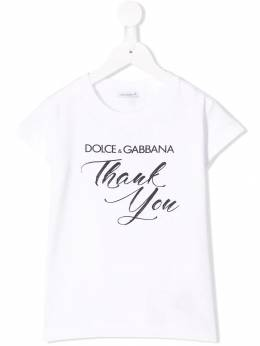 Dolce & Gabbana Kids - футболка с принтом thank you TCVG3RXH938655560000