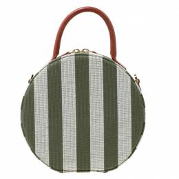 Mansur Gavriel Green/Off white Striped Circle Crossbody Bag 212964