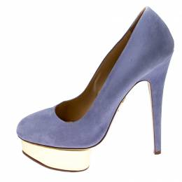 Charlotte Olympia Blue Suede Dolly Platform Pumps Size 38.5 213751