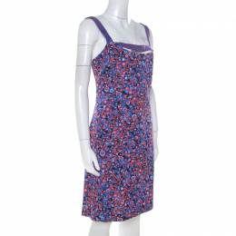Versus Versace Multicolor Textured Cotton Abstract Printed Dress M 213705