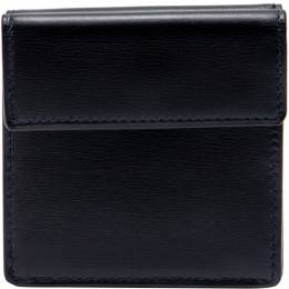 Cartier Sapphire Navy Black Leather Vintage Coin Wallet 213293