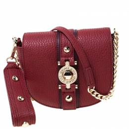 Versace Jeans Red Pebbled Faux Leather Chain Crossbody Bag 212814