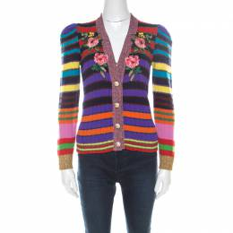 Gucci Multicolor Rainbow Striped Wool Blend Floral Applique Pearl Button Cardigan XS 215473
