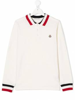 Moncler Kids - TEEN striped trim polo shirt 69658563093935353000