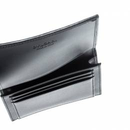 Bvlgari Grey/Black Coated Canvas Business Card Holder 212826