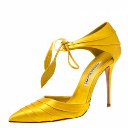 Manolo Blahnik Yellow Pleated Satin Reya Pointed Toe Ankle Tie Pumps Size 38 216474