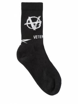 Anarchy New Logo Cotton Blend Socks Vetements 70IW3L012-QkxBQ0s1