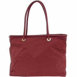 Celine Red Nylon Leather Tote Bag 216675