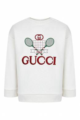 Белый джемпер с вышивкой Gucci Kids 1256146067