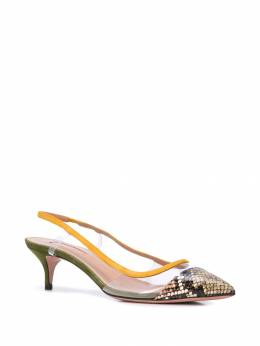 Aquazzura - 45mm snake-effect leather and suede slingback pumps MIDP6KPSGOS959858850