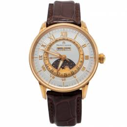 Maurice Lacroix Silver 18K Rose Gold Masterpiece Phase De Lune Men's Watch 40MM 217929