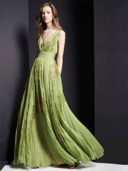 Long V Neck Pleated Chiffon & Lace Dress Zuhair Murad 70ICCQ002-MTcwMzM20