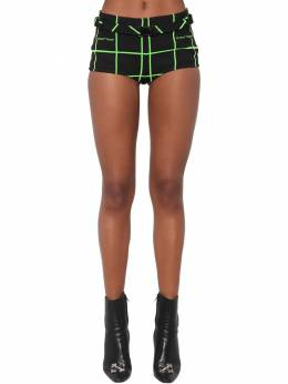 Belted Check Flocked Crepe Hot Pants Off-White 70I4T8014-MTAwMA2