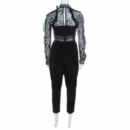 Self-portrait Black Stretch Knit and Lace Bodice Fitted Jumpsuit M 217452