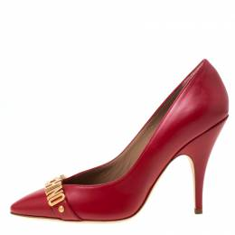 Moschino Red Leather Pointed Toe Pumps Size 40 218085