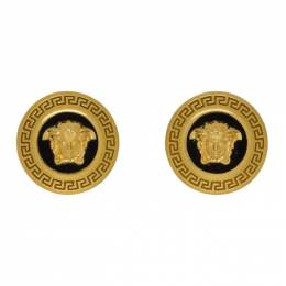 Versace Black and Gold Small Medusa Coin Earrings 192404F02202501GB
