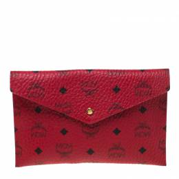 MCM Red Visetos Leather Envelope Clutch 218114