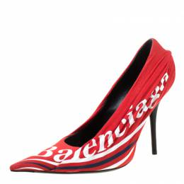 Balenciaga Red Fabric And Leather Knife Logo Pointed Toe Pumps Size 40 218965