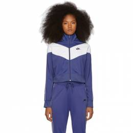 Nike Navy and White Cropped Colorblocked Track Jacket 192011F06301105GB