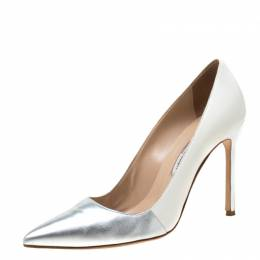 Manolo Blahnik Metallic Silver And White Leather BB Pointed Toe Pumps Size 39 218579