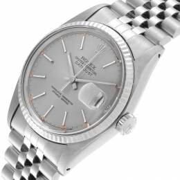 Rolex Silver 18K White Gold and Stainless Steel Datejust Vintage 16014 Men's Wristwatch 36MM 219204
