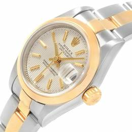 Rolex Silver Tapestry 18K Yellow Gold and Stainless Steel Datejust 79163 Women's Wristwatch 26MM 219147