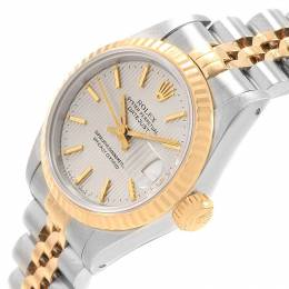Rolex Silver Tapestry 18K Yellow Gold and Stainless Steel Datejust 69173 Women's Wristwatch 26MM 219132