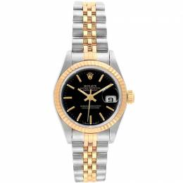 Rolex Black 18K Yellow Gold and Stainless Steel Datejust 69173 Women's Wristwatch 26MM 219123