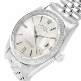 Rolex Silver 18K White Gold and Stainless Steel Datejust Vintage 1601 Men's Wristwatch 36MM 219083