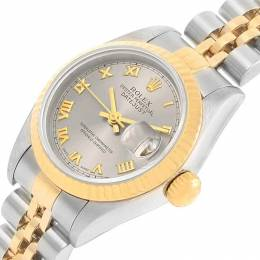 Rolex Slate 18K Yellow Gold and Stainless Steel Datejust 69173 Women's Wristwatch 26MM 219084