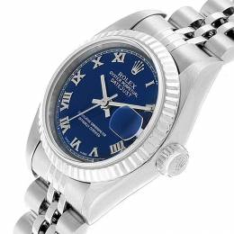 Rolex Blue 18K White Gold and Stainless Steel Datejust 79174 Women's Wristwatch 26MM 219160
