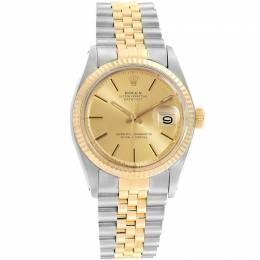 Rolex Champagne 18K Yellow Gold and Stainless Steel Datejust Vintage 1601 Men's Wristwatch 34MM 219178