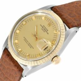 Rolex Champagne 18K Yellow Gold and Stainless Steel Date 15053 Men's Wristwatch 34MM 219176