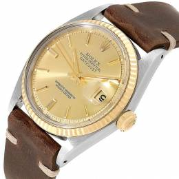 Rolex Champagne 18K Yellow Gold and Stainless Steel Datejust Vintage 1601 Men's Wristwatch 34MM 219177