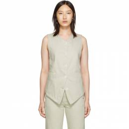 Lemaire Off-White Twill Vest 192646F06800203GB