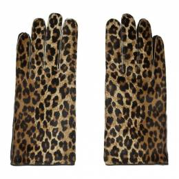 Raf Simons Black and Brown Leather Leopard Gloves 192287F01200102GB
