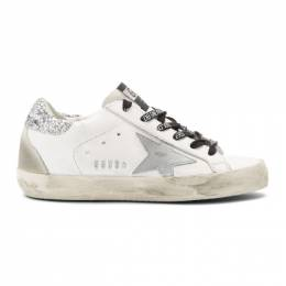 Golden Goose White and Silver Glitter Tab Superstar Sneakers 192264F12808906GB