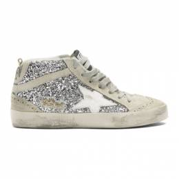 Golden Goose Silver Glitter Mid Star Sneakers 192264F12702805GB