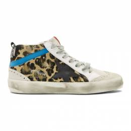 Golden Goose Black and Brown Leopard Pony Mid Star Sneakers 192264F12702903GB